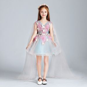 Modern / Fashion Sky Blue Candy Pink Flower Girl Dresses 2017 Ball Gown V-Neck Sleeveless Appliques Butterfly Sequins Short Ruffle Wedding Party Dresses