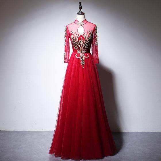 Kinesisk Stil Röd Aftonklänningar 2020 Prinsessa Hög Hals Beading Rhinestone Paljetter Långärmad Långa Formella Klänningar