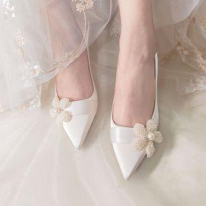 Elegant Ivory Brudesko 2020 Læder Perle Blomsten 5 cm Stiletter Spidse Tå Bryllup Pumps