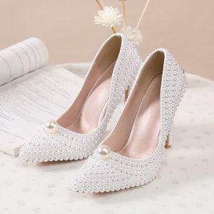 Encantador Marfil Hecho a mano Perla Zapatos de novia 2020 11 cm Stilettos / Tacones De Aguja Punta Estrecha Boda Tacones