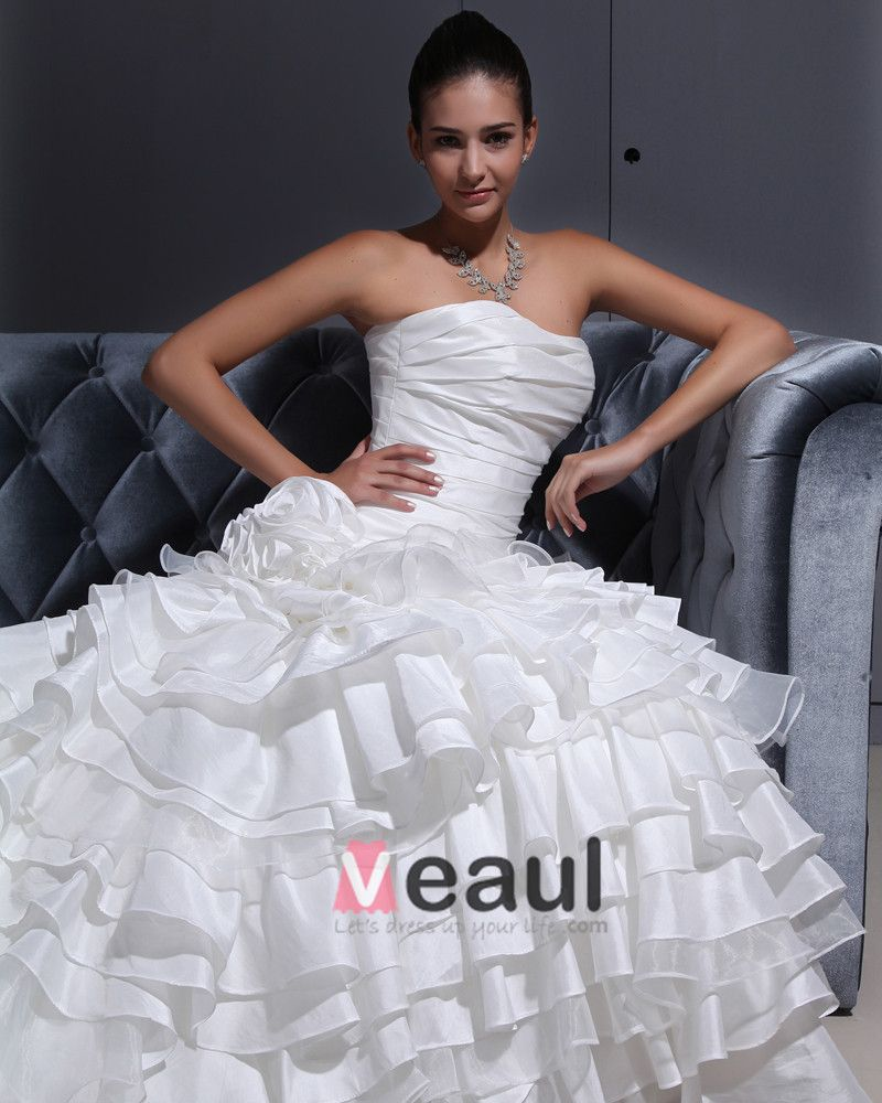 TU Cloth Solid Strapless Court A-line Bridal Gown Wedding Dress