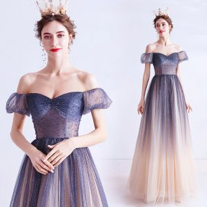 Charming Navy Blue Gradient-Color Prom Dresses 2020 A-Line / Princess Off-The-Shoulder Crystal Glitter Tulle Short Sleeve Backless Formal Dresses