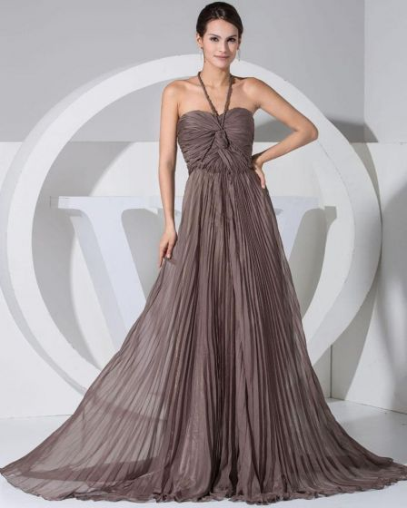 Chiffon Halter Sleeveless Backless Court Train Pleated Celebrity Evening Dress