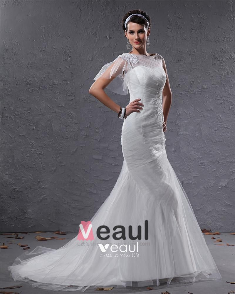 Elegant Tulle Charmeuse Beaded Bateau Floor Length Mermaid Wedding Dress