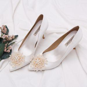 Elegantes Blanco Perla Zapatos de novia 2020 Cuero 7 cm Stilettos / Tacones De Aguja Punta Estrecha Boda Tacones