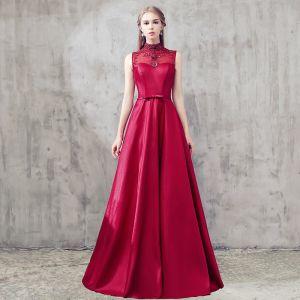 Chic / Beautiful Evening Dresses  2017 A-Line / Princess Beading Crystal Backless High Neck Sleeveless Floor-Length / Long Formal Dresses