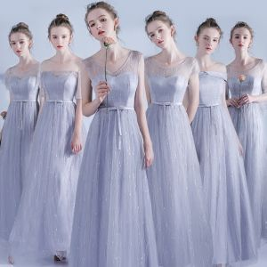 Chic / Beautiful Grey Bridesmaid Dresses 2017 A-Line / Princess Bow Short Sleeve Ankle Length Bridesmaid Wedding Party Dresses
