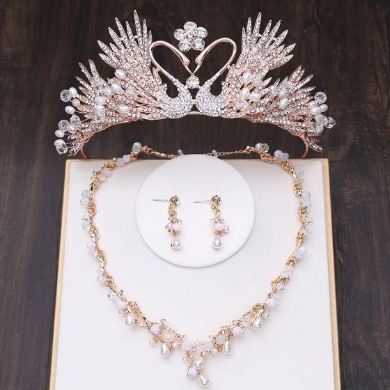 Unieke Goud Bruidssieraden 2019 Metaal Tiara Nek Ketting Kwast Oorbellen Kristal Parel Rhinestone Huwelijk Accessoires