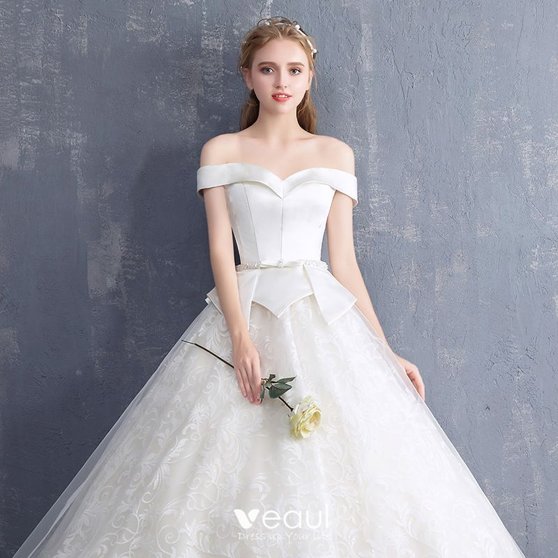 Wedding Dresses 2018 Couture Ball Gowns Elegant Royal: Elegant Ivory Wedding Dresses 2018 Ball Gown Beading Bow