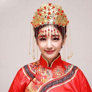 Style Chinois Mariée Coiffure / Fleur Tete / Accessoires De Cheveux De Mariage / Bijoux De Mariage