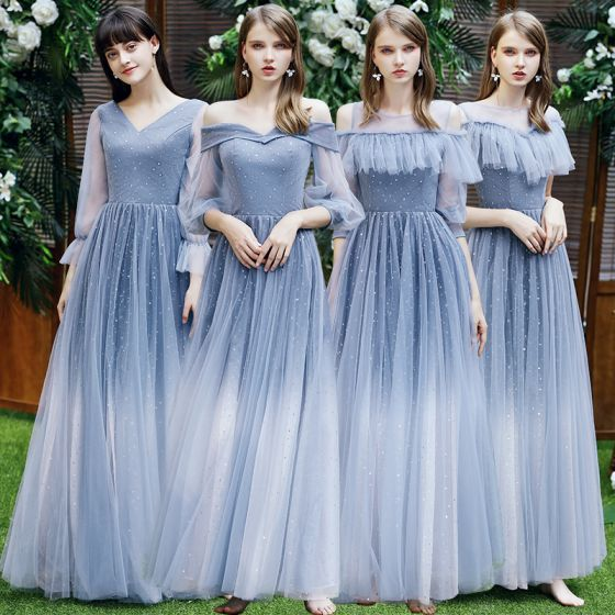 Rimelig Hav Blå Brudepikekjoler 2021 Prinsesse Ryggløse Stjerne Paljetter Lange Buste