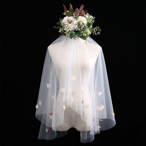 Fée Des Fleurs Blanche Courte Voile De Mariée Appliques Fleur Chiffon Mariage Accessorize 2019