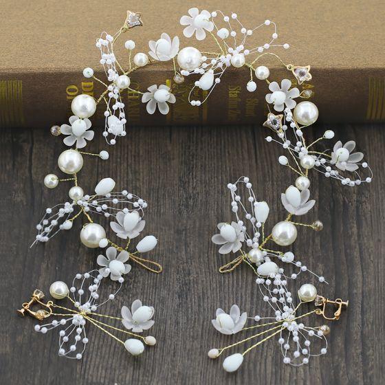 Blumenfee Gold Brautschmuck 2020 Metall Perlenstickerei Perle Blumen Kopfschmuck Ohrringe Hochzeit Brautaccessoires