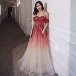 Elegant Red Gradient-Color Evening Dresses  2020 A-Line / Princess Spaghetti Straps Short Sleeve Glitter Tulle Sequins Floor-Length / Long Ruffle Backless Formal Dresses