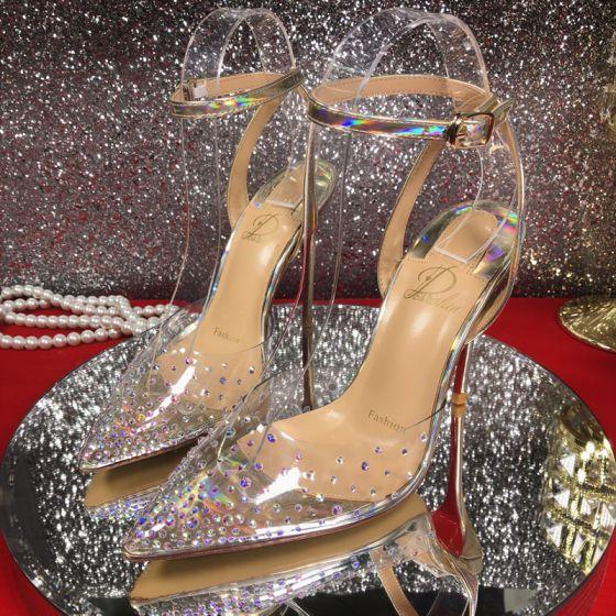 Sexet Sølv Fest Laser Sandaler Dame 2020 10 cm Stiletter Rhinestone Ankel Strop Spidse Tå Sandaler