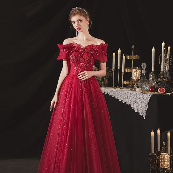 Chic / Beautiful Burgundy Engagement Prom Dresses 2020 A-Line / Princess Off-The-Shoulder Short Sleeve Appliques Lace Beading Glitter Tulle Floor-Length / Long Ruffle Backless Formal Dresses
