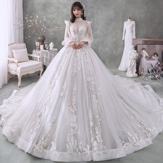 Victorian Style Ivory Bridal Wedding Dresses 2020 Ball Gown See-through High Neck Puffy Long Sleeve Backless Appliques Lace Beading Pearl Glitter Tulle Cathedral Train Ruffle