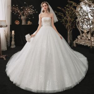 Chic / Beautiful White Bridal Wedding Dresses 2020 Ball Gown Strapless Sleeveless Backless Beading Sequins Chapel Train Ruffle