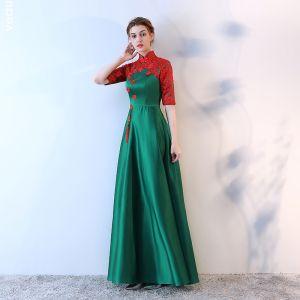 Chinesischer Stil 2017 Abendkleider Grün Rundhalsausschnitt 1/2 Ärmel Stickerei Abend Festliche Kleider