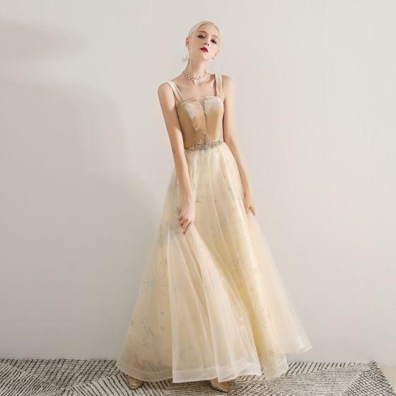 Stylowe / Modne Szampan Sukienki Na Bal 2019 Princessa Plecy Bez Rękawów Cekinami Cekiny Frezowanie Długie Wzburzyć Bez Pleców Sukienki Wizytowe