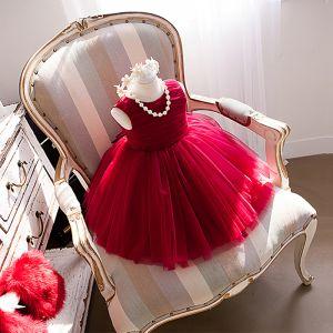 Charmant Rouge Anniversaire Robe Ceremonie Fille 2020 Robe Boule Encolure Dégagée Sans Manches Noeud Courte Volants Robe Pour Mariage