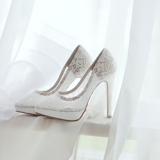 Chic Beautiful White Wedding Shoes 2018 See Through Lace 10 Cm Stiletto Heels Pointed Toe Pumps