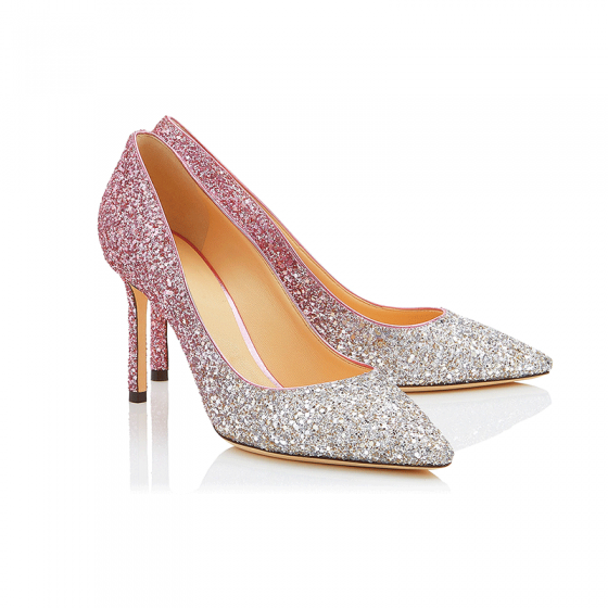 Sparkly Gradient-Color Blushing Pink Prom Pumps 2018 Sequins Leather 8 cm Stiletto Heels Pumps