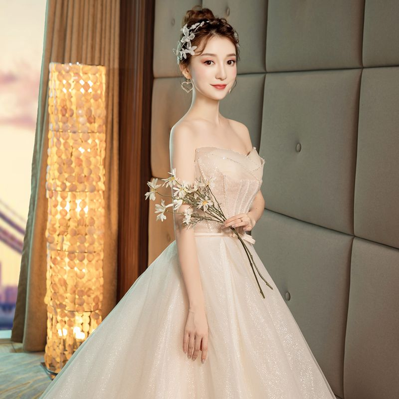 Bling Bling Champagne Wedding Dresses 2019 A-Line / Princess Sweetheart Sleeveless Backless Bow Sash Beading Glitter Polyester Cathedral Train Ruffle