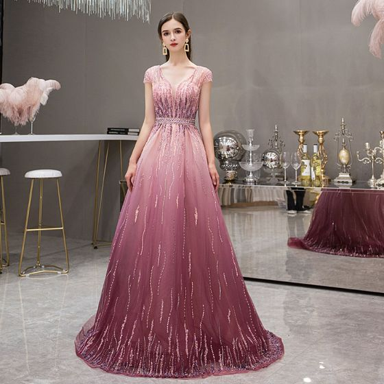 High-end Fuchsia Gradient-Color Evening Dresses  2019 A-Line / Princess Deep V-Neck Short Sleeve Rhinestone Beading Sweep Train Ruffle Backless Formal Dresses
