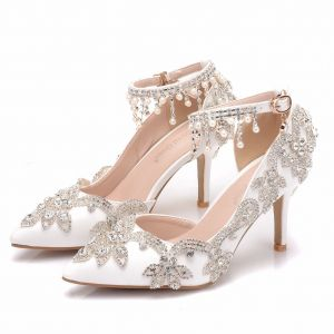 Elegant White Wedding Shoes 2018 Rhinestone Pearl Tassel 8 cm Stiletto Heels Pointed Toe Wedding High Heels
