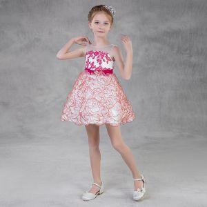 Moda Rosa Organza Verano Vestidos para niñas 2018 A-Line / Princess Transparentes Scoop Escote Sin Mangas Apliques Con Encaje Cinturón Cortos Volantes En Cascada Sin Espalda Vestidos para bodas