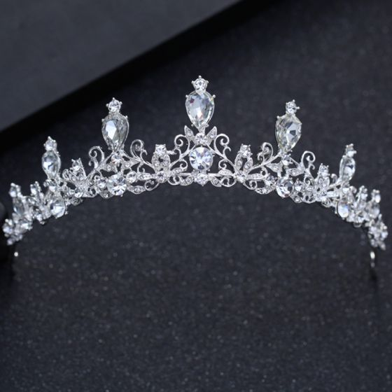Modest / Simple Silver Wedding Accessories 2018 Metal Rhinestone Tiara