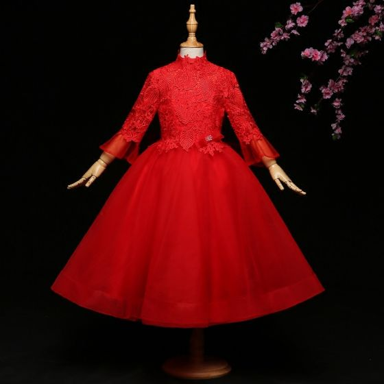Chic / Beautiful Red Flower Girl Dresses 2017 Ball Gown Lace Bow High Neck Backless Long Sleeve Ankle Length Wedding Party Dresses