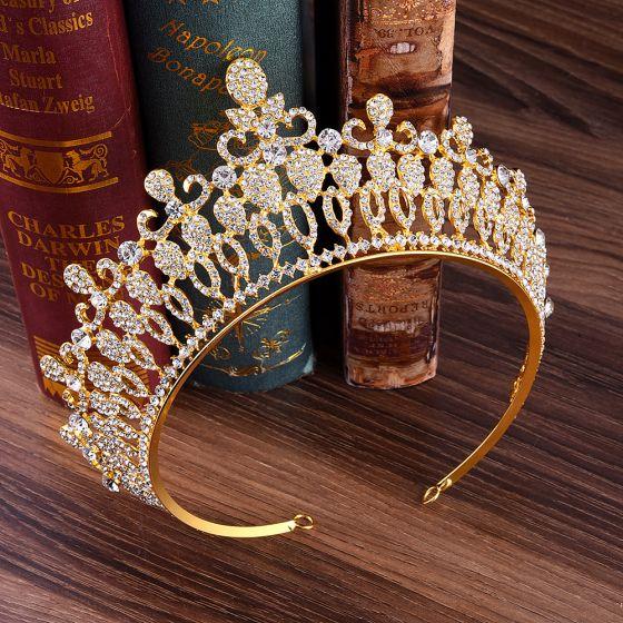 Klassisch Gold Diadem Haarschmuck Braut  2020 Legierung Strass Tiara Hochzeit Brautaccessoires