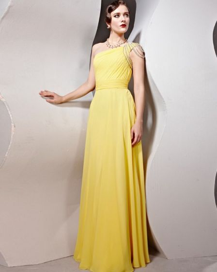 Beaded Ruffle Cotton Charmeuse One Shoulder Floor Length Evening Dresses