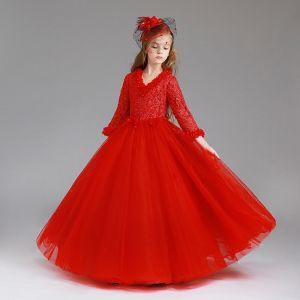 Schöne Rot Mädchenkleider 2017 Ballkleid V-Ausschnitt Lange Ärmel Applikationen Mit Spitze Lange Kleider Für Hochzeit