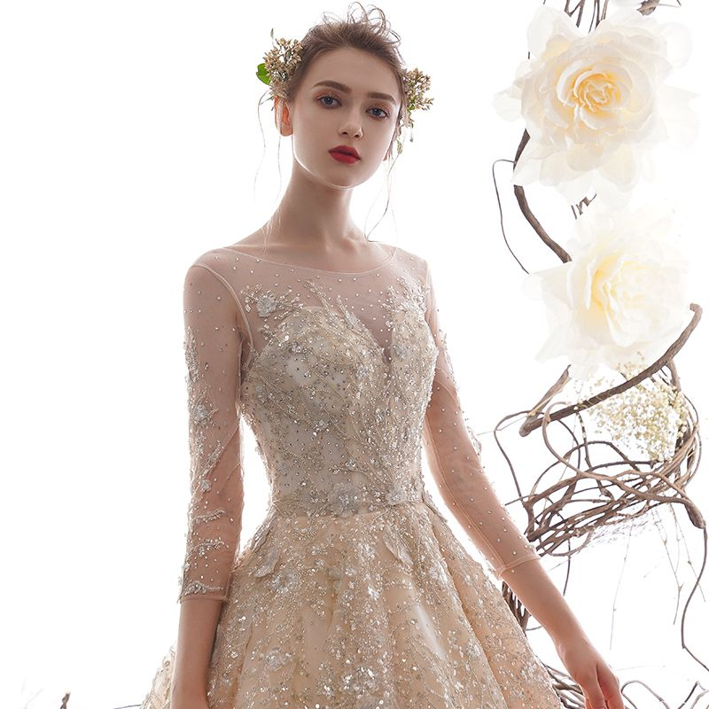 High-end Champagne See-through Wedding Dresses 2019 A-Line / Princess Scoop Neck 3/4 Sleeve Backless Beading Sequins Rhinestone Cathedral Train Ruffle