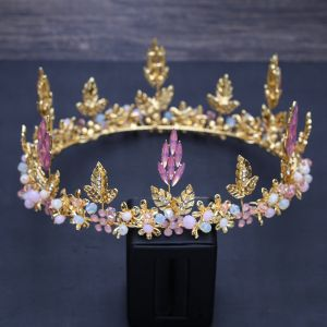 Chic / Beautiful Candy Pink Crystal Gold Leaf Tiara 2018 Metal Rhinestone Wedding Accessories