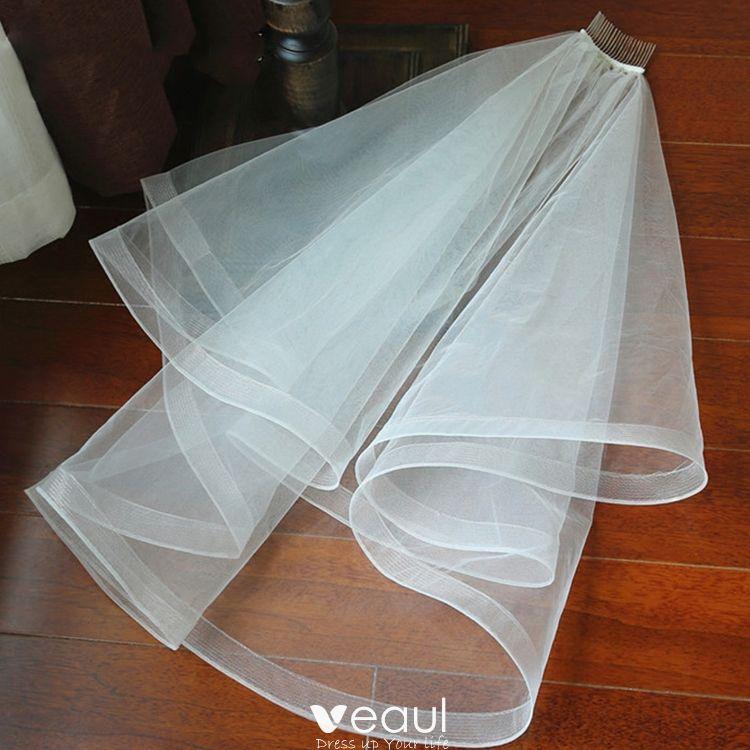Classic 2017 1 m White Appliques Tulle Wedding Veils