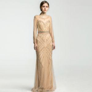 Chic / Beautiful Champagne Evening Dresses  2019 Trumpet / Mermaid Scoop Neck Handmade  Beading Crystal Sequins Long Sleeve Backless Floor-Length / Long Formal Dresses