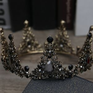 Vintage / Retro Baroque Black Bridal Jewelry 2019 Metal Tiara Tassel Earrings Rhinestone Wedding Accessories