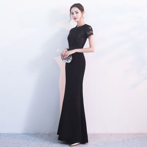 Chic / Beautiful Black Evening Dresses  2017 Trumpet / Mermaid U-Neck Lace Appliques Embroidered Split Front Evening Party Party Dresses