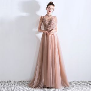 Chic Perle Rose Robe De Soirée 2019 Princesse Col v profond Manches Courtes Perlage Train De Balayage Volants Dos Nu Robe De Ceremonie