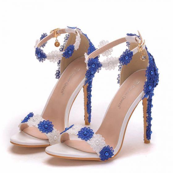 Mooie / Prachtige Witte Gala Sandalen Dames 2020 Parel Kant Bloem Enkelband 11 cm Naaldhakken / Stiletto Peep Toe Sandalen