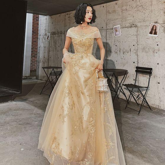 Chic / Belle Doré Robe De Soirée 2020 Princesse Transparentes Encolure Carrée Manches Courtes Appliques Paillettes Longue Volants Dos Nu Robe De Ceremonie