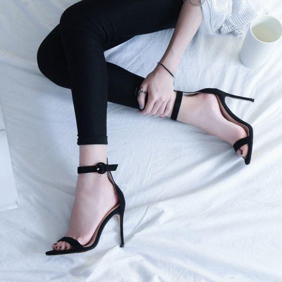 Hermoso Stilettos / Tacones De Aguja 8 cm / 3 inch 10 cm / 4 inch 2017 Rojo Oro Negro Cuero Verano Suede High Heels Zapatos De Mujer