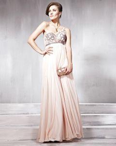 Silk Tulle Charmeuse One Shoulder Bead Floor Length Evening Dress