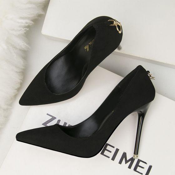 Modest / Simple Black Office OL Suede Pumps 2020 11 cm Stiletto Heels Pointed Toe Pumps