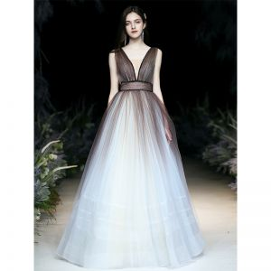 Sexy Brown Gradient-Color White Prom Dresses 2020 Ball Gown See-through Deep V-Neck Sleeveless Sash Glitter Tulle Floor-Length / Long Ruffle Backless Formal Dresses