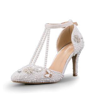 Sexy Marfil Zapatos de novia 2020 Boda Perla T-Correa 8 cm Stilettos / Tacones De Aguja Punta Estrecha De Tacón